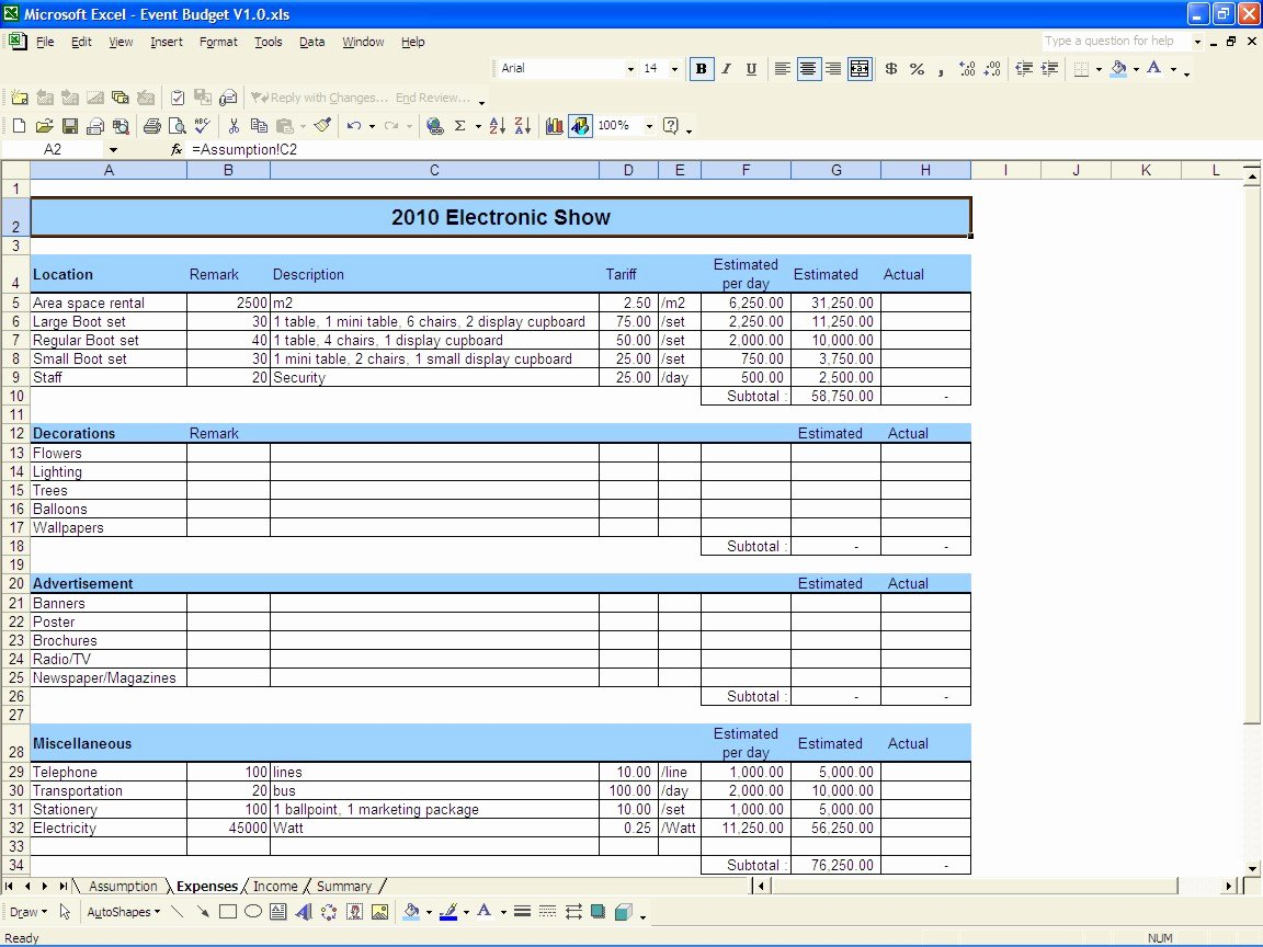 It Budget Template Excel Elegant event Bud Template Excel 2010
