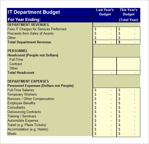 It Budget Template Excel Fresh 6 It Bud Templates – Free Samples Examples & format