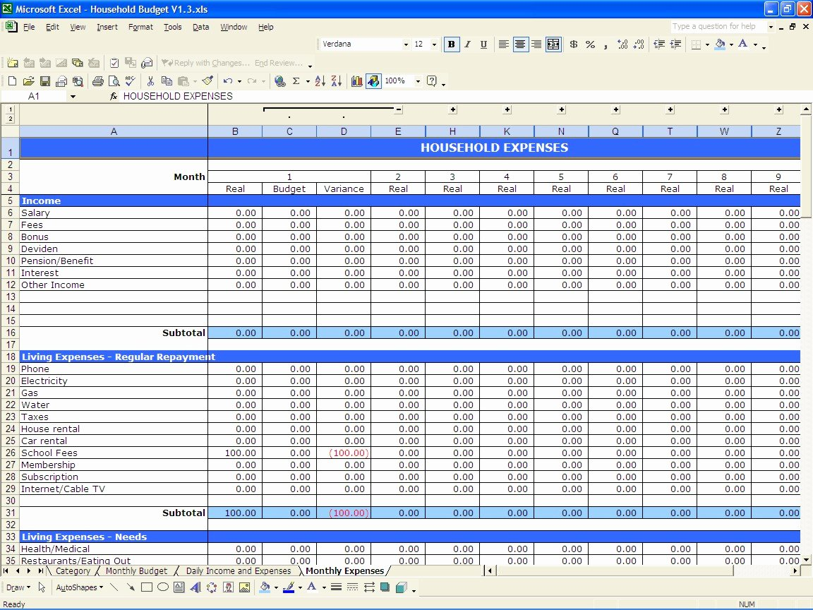 It Budget Template Excel New Household Bud