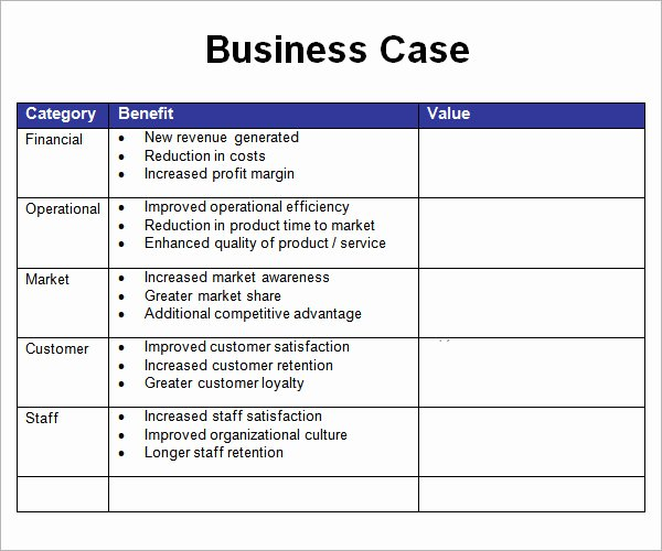 It Business Case Template Best Of 7 Business Case Samples