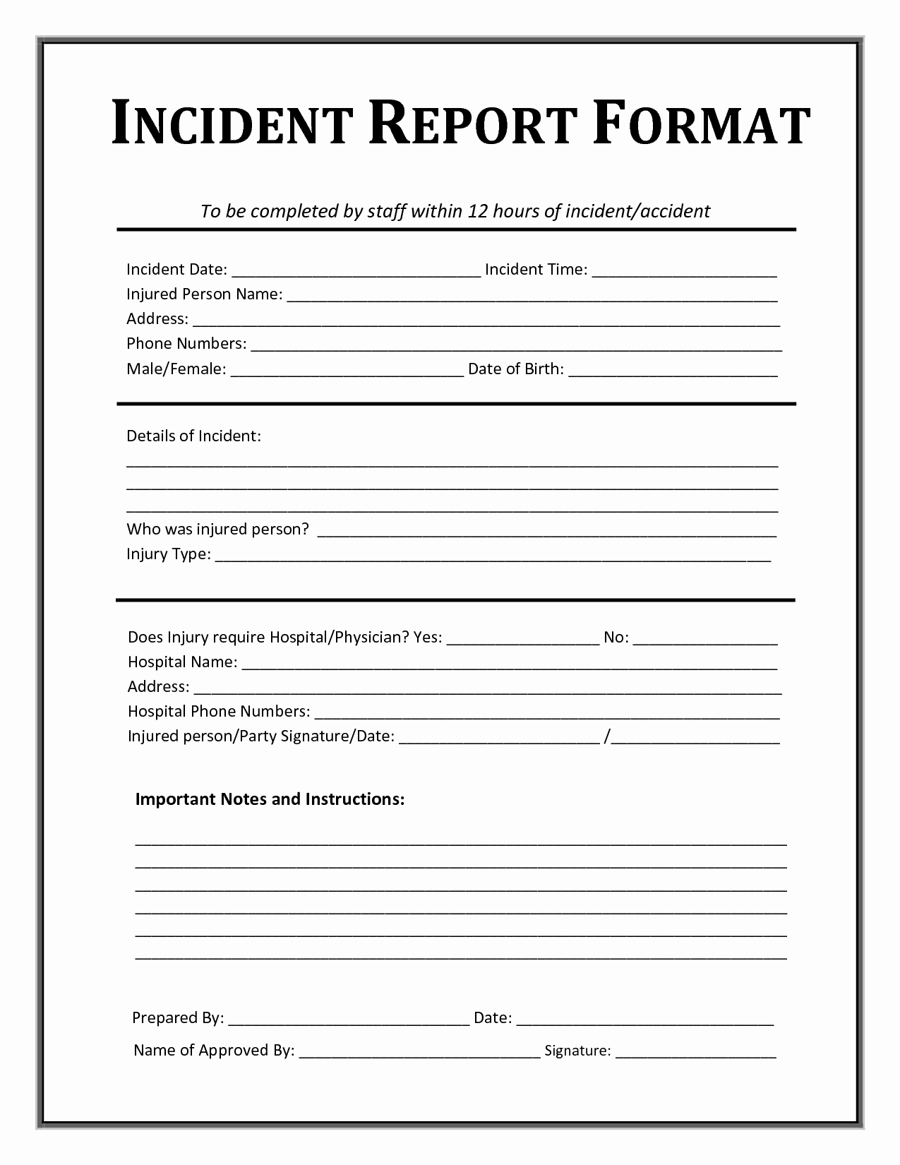It Incident Report Template Word Fresh Incident Report form Template