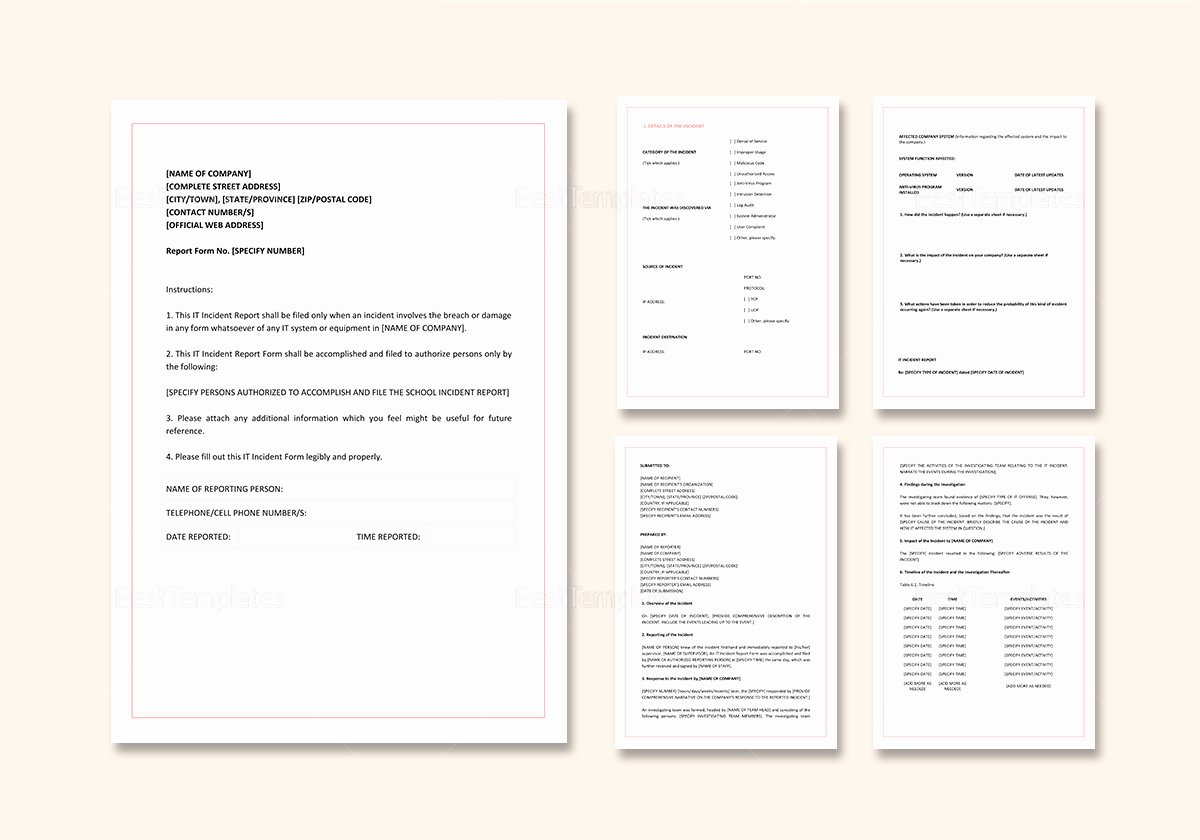 It Incident Report Template Word Fresh It Incident Report Template In Word Google Docs Apple Pages