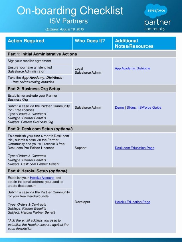 It Onboarding Checklist Template New Boarding Checklist for isvforce and Oem Partners
