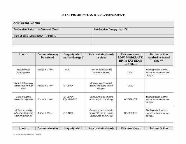It Risk assessment Template Elegant Production Risk assessment form