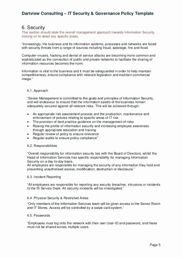 It Security Policy Template Lovely It Security Policy Template for Small Business 8