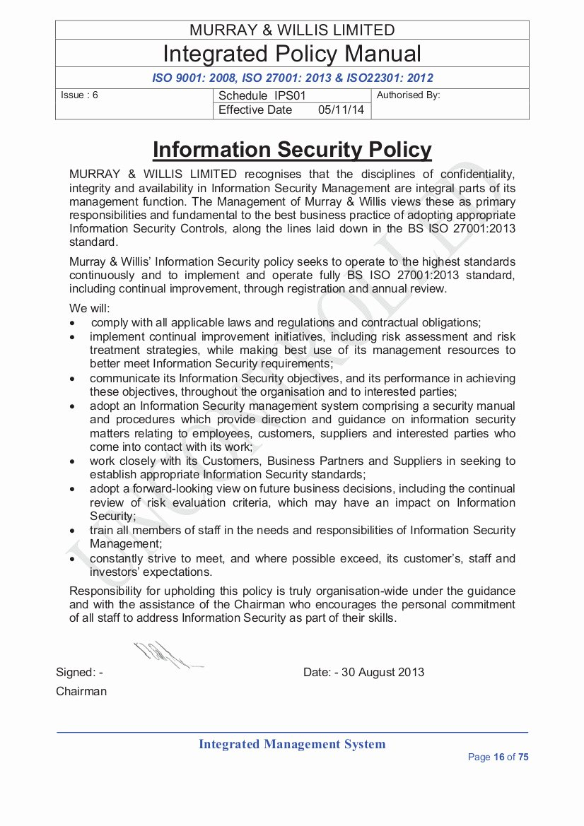 It Security Policy Template Lovely organizational Security Policy Template