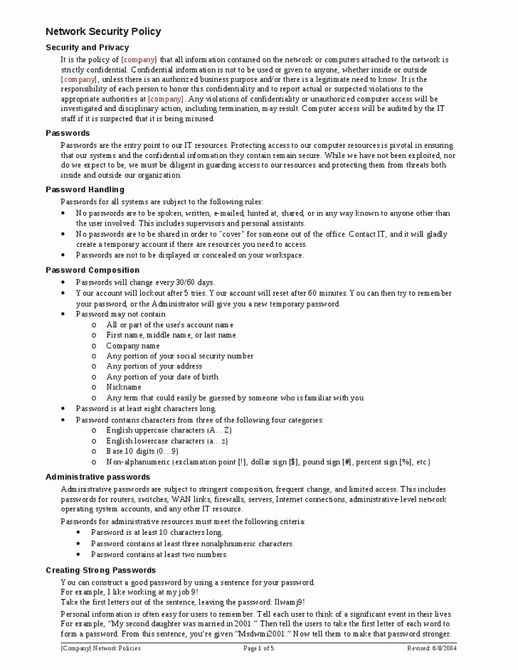 It Security Policy Template New It Security Policy Template Templates Station