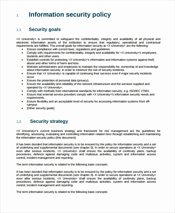 It Security Policy Template Unique 10 It Security Policy Templates
