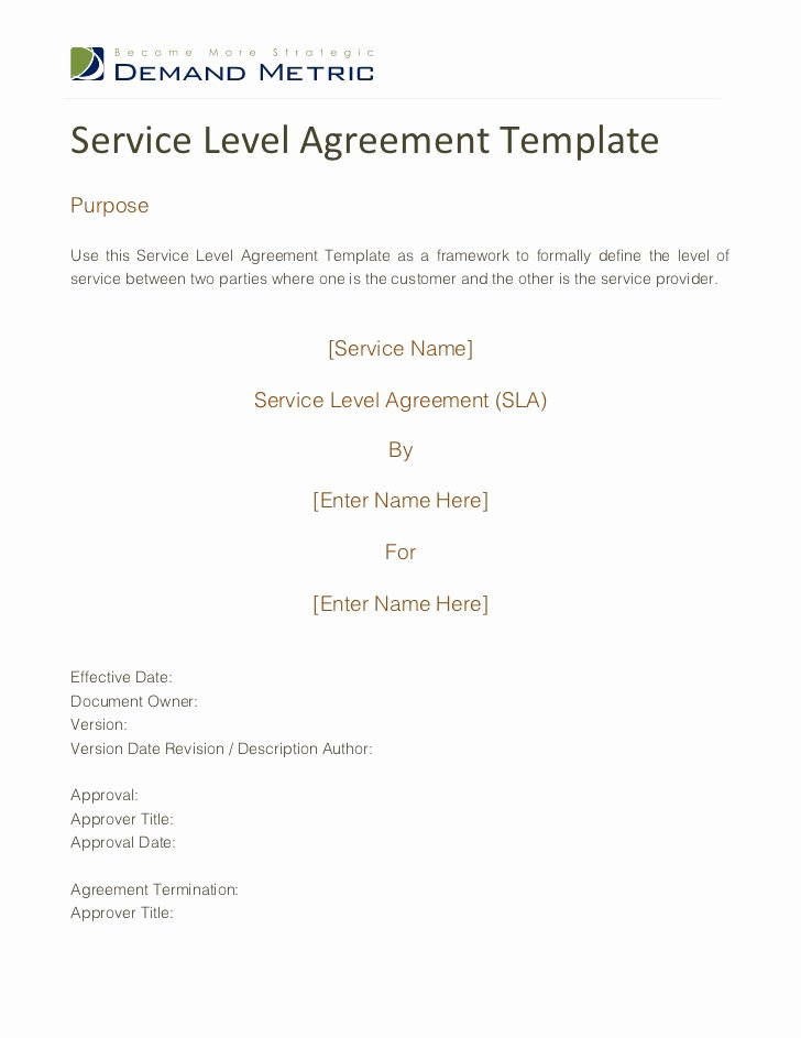 It Service Contract Template Awesome Service Level Agreement Template
