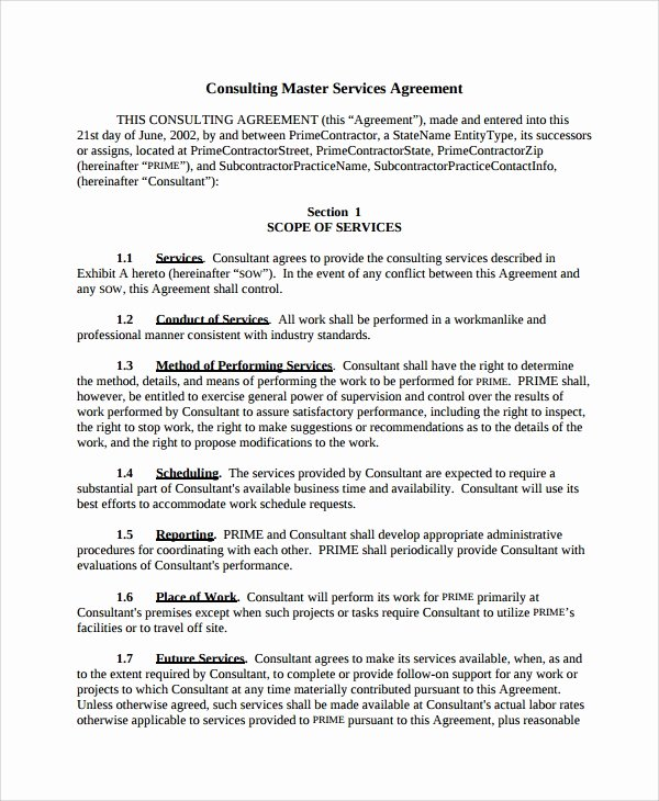 It Service Contract Template Fresh 10 Consulting Service Agreements