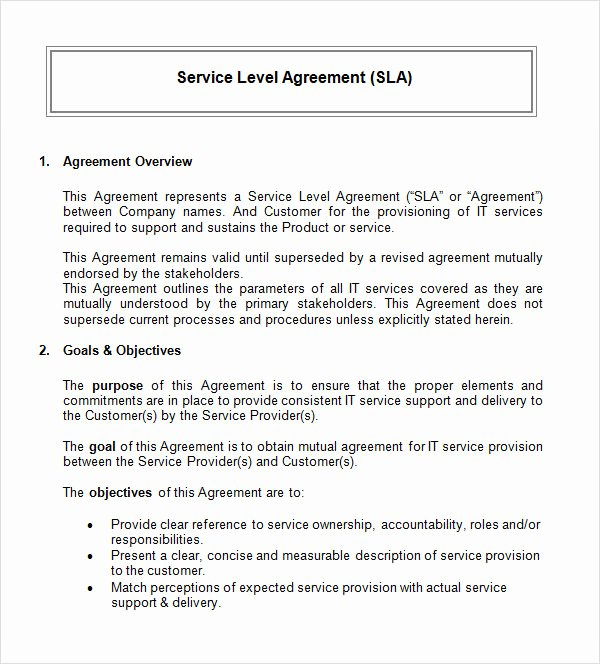 It Service Contract Template Lovely 14 Sample Service Level Agreement Templates – Pdf Word