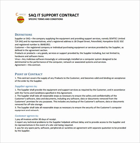 It Service Contract Template Luxury 9 It Support Contract Templates – Free Word Pdf