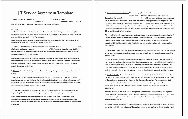 It Service Contract Template Luxury Free Printable It Service Agreement Template form Generic