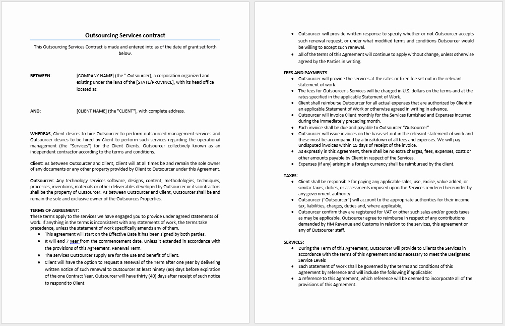 It Service Contract Template Luxury Outsourcing Services Contract Template Microsoft Word