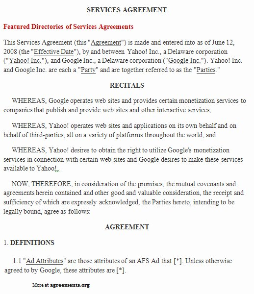 It Service Contract Template New Free Printable It Service Agreement Template form Generic