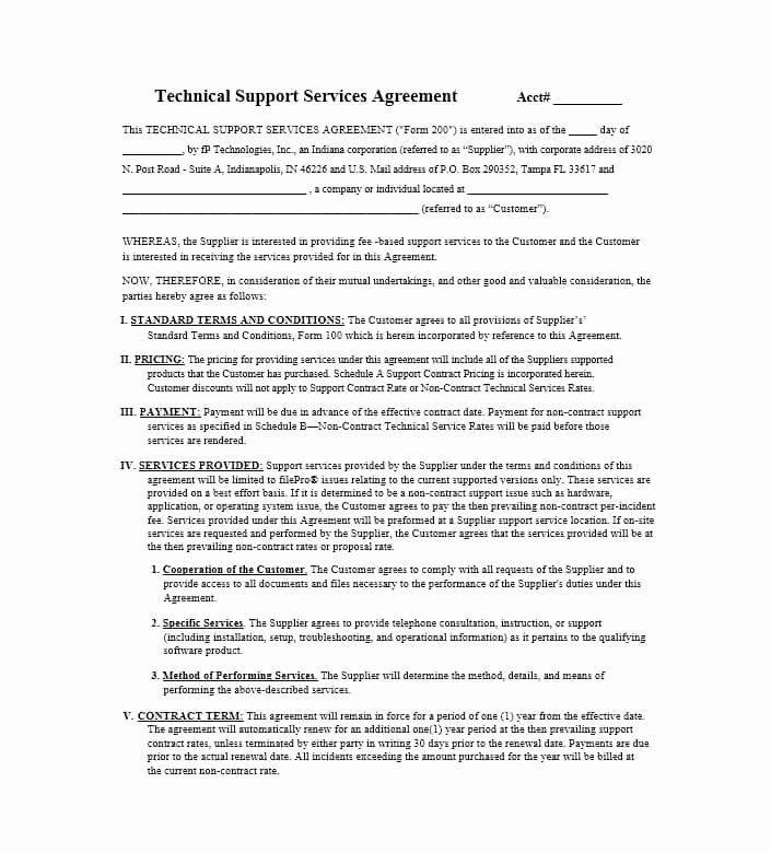 It Support Contract Template Beautiful 50 Professional Service Agreement Templates & Contracts