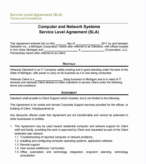 It Support Contract Template Lovely Free software Support and Maintenance Agreement Template