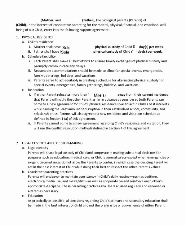 It Support Contract Template Pdf Awesome 10 Child Support Agreement Templates Pdf Doc