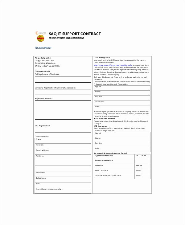 It Support Contract Template Pdf Elegant It Contract Template 5 Free Word Pdf Documents