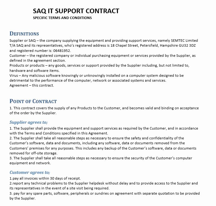 It Support Contract Template Pdf Inspirational 11 Free Sample Professional It Service Agreement Templates