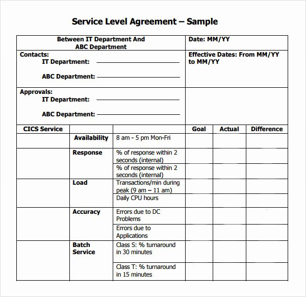 It Support Contract Template Pdf Luxury Service Level Agreement 9 Download Free Documents In