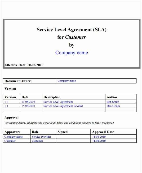 It Support Contract Template Unique It Service Level Agreement Template Invitation Template