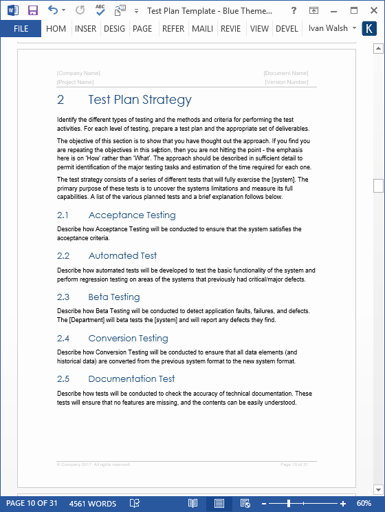 It Testing Plan Template Awesome Test Plan – Download Ms Word & Excel Template