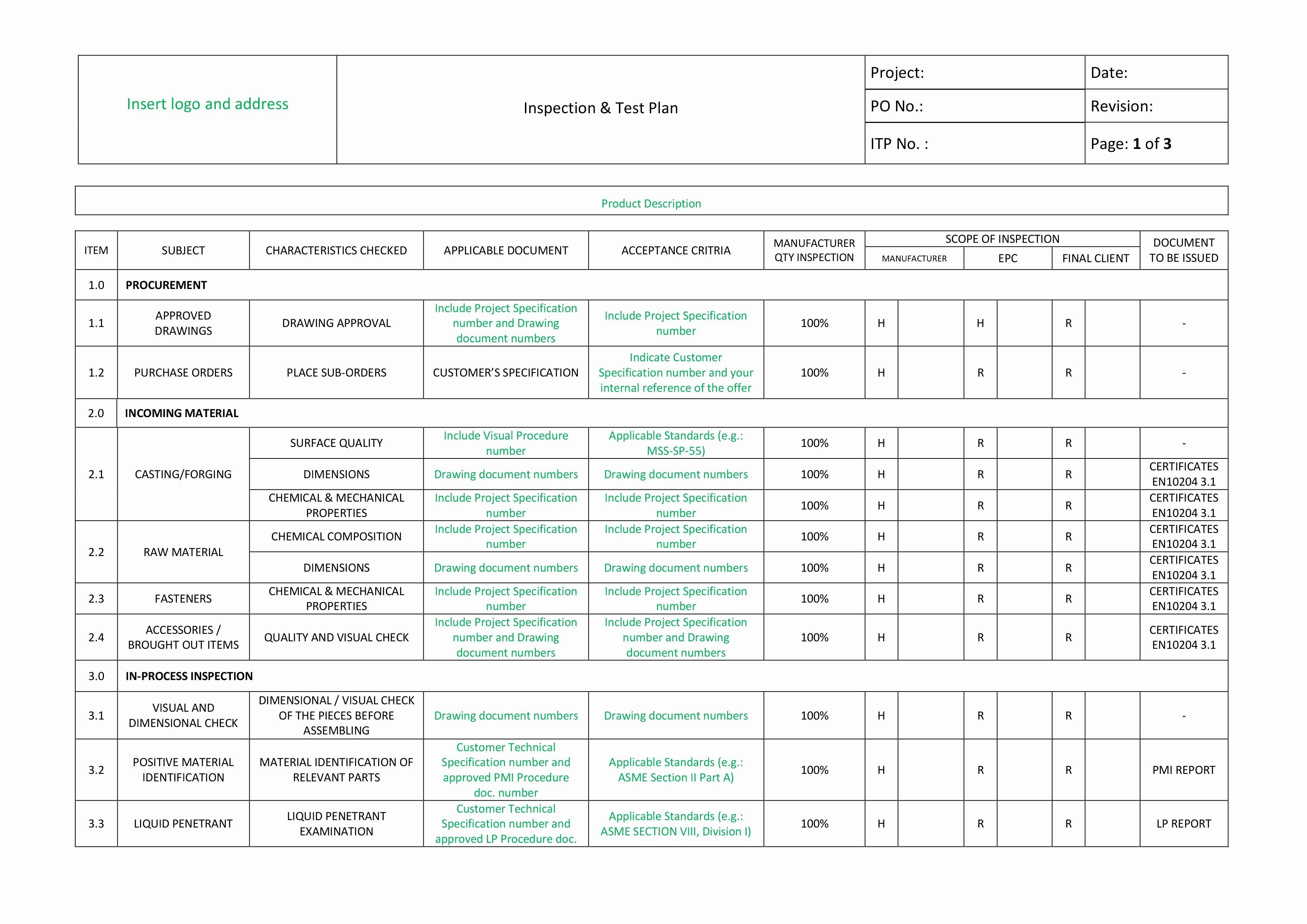 It Testing Plan Template Elegant Welding Dossier Templates Zenilyst