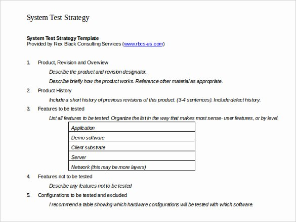 It Testing Plan Template Fresh Test Strategy Template – 11 Word Pdf Ppt Documents