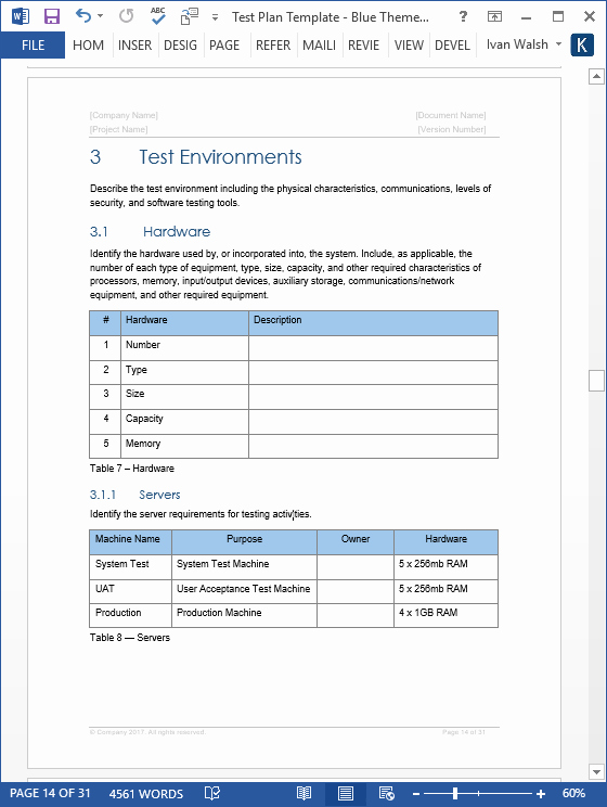 It Testing Plan Template New Test Plan – Download Ms Word & Excel Template
