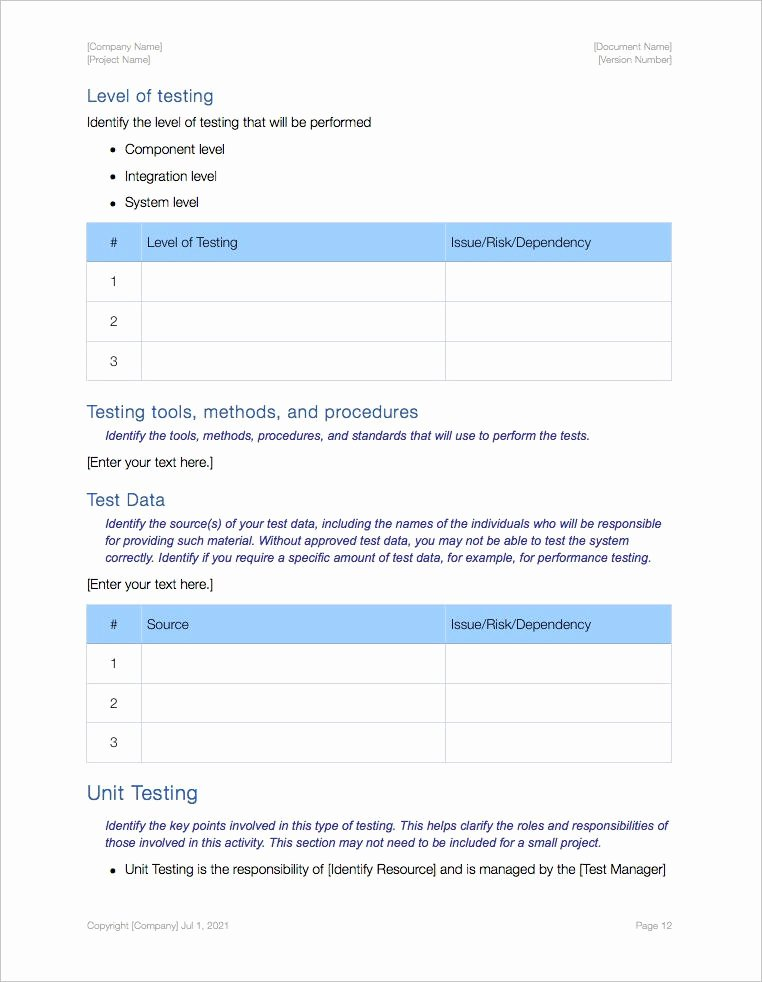 It Testing Plan Template Unique software Testing Templates Apple Iwork Pages Numbers