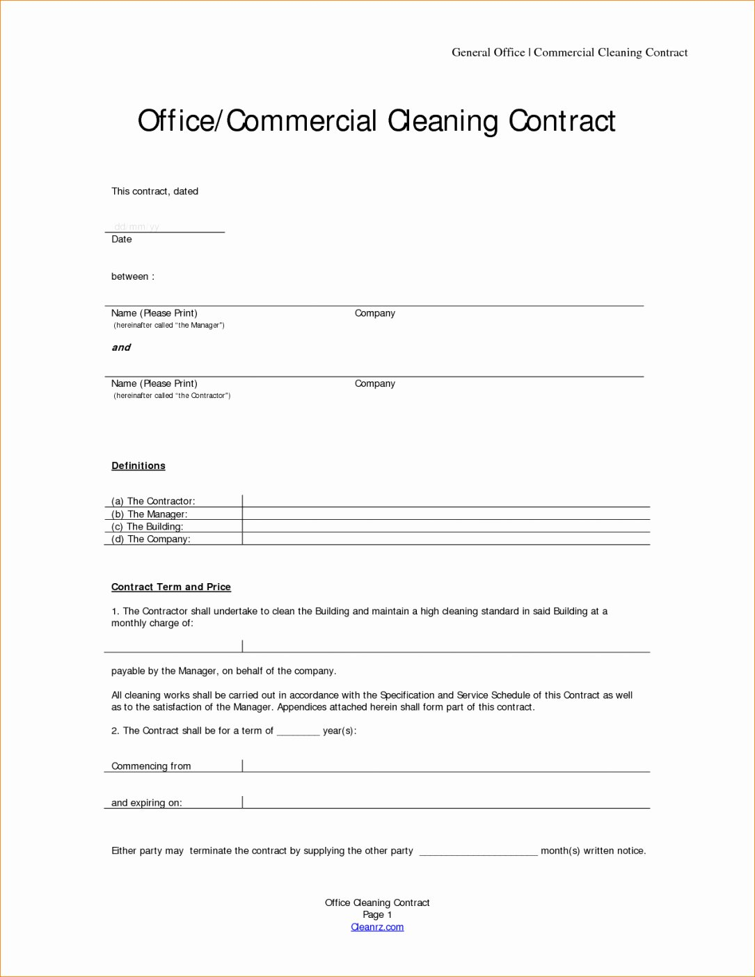 Janitorial Services Contract Template Beautiful Cleaning Contracts Template – Emmamcintyrephotography