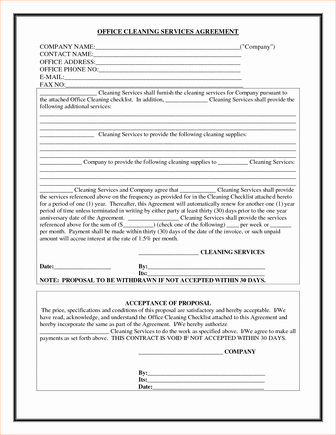 Janitorial Services Contract Template Best Of Contract Cleaning Contract Template