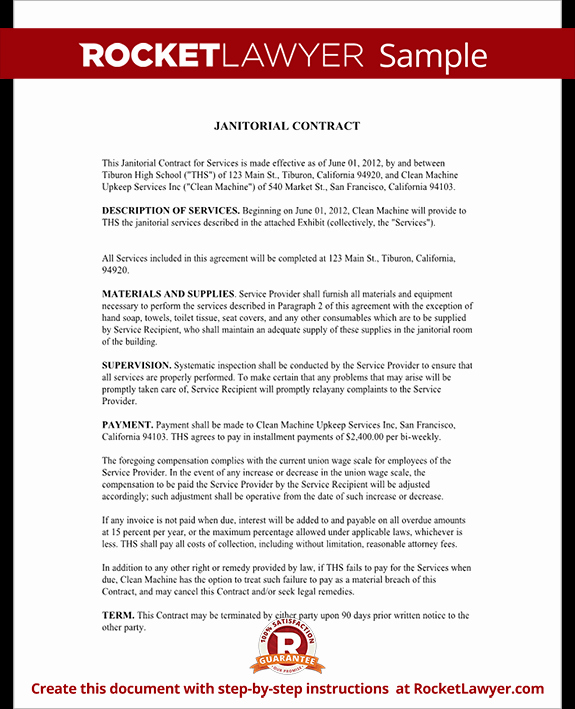 Janitorial Services Contract Template Best Of Janitorial Services Contract Janitorial Contract with