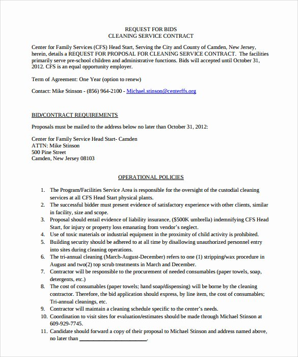 Janitorial Services Contract Template Fresh 10 Cleaning Contract Templates to Download for Free