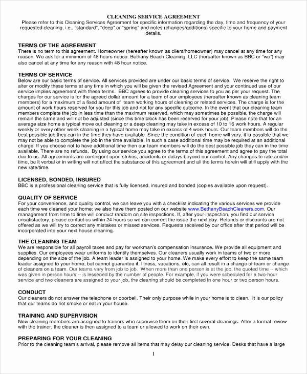 Janitorial Services Contract Template Inspirational 11 Cleaning Services Contract Templates Pdf