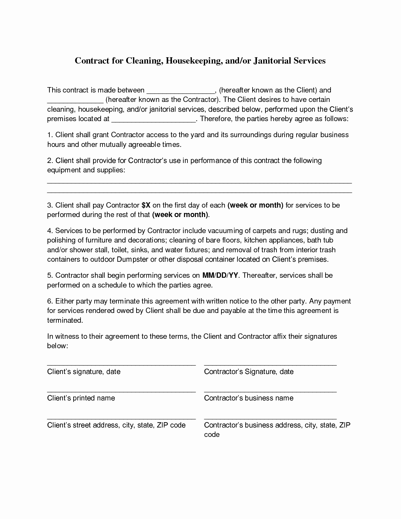 Janitorial Services Contract Template Unique Cleaning Contract Agreement