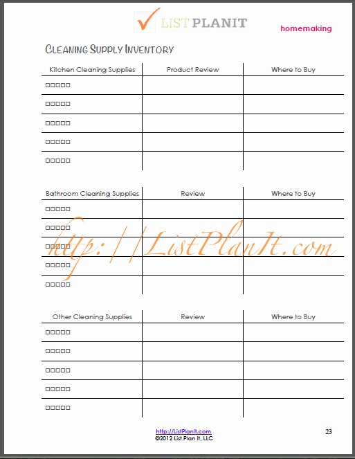 Janitorial Supply List Template Luxury the L I S T This Week Making A House A Home Get A Free