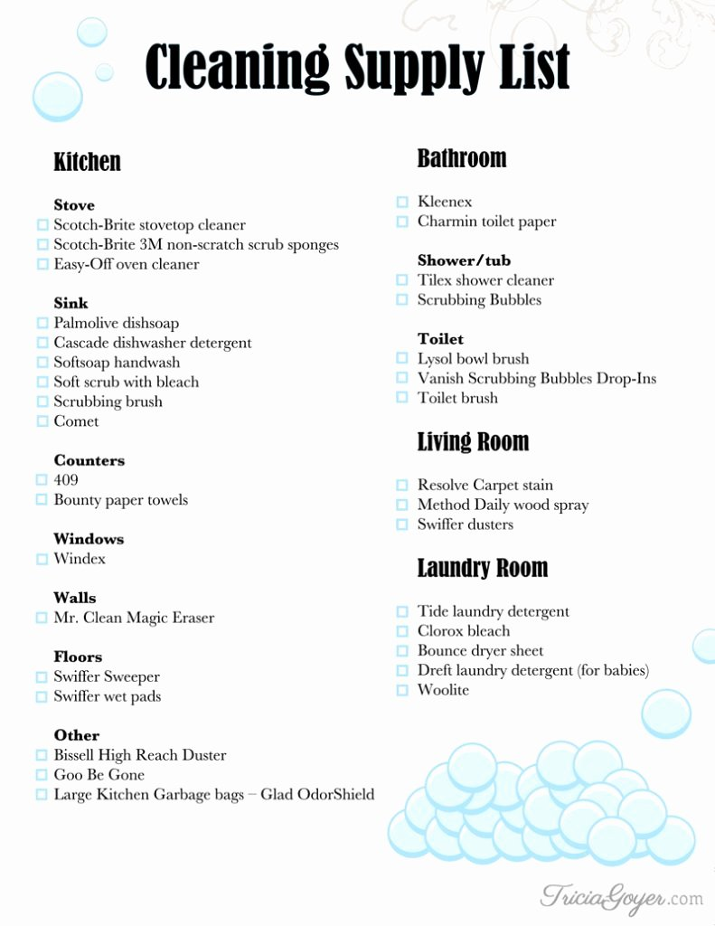 Janitorial Supply List Template New Christmas Cleaning Cleaning Supply List