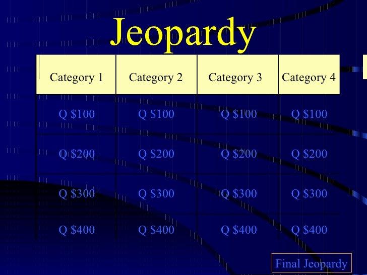 Jeopardy Powerpoint Template 4 Categories Unique Jeopardy
