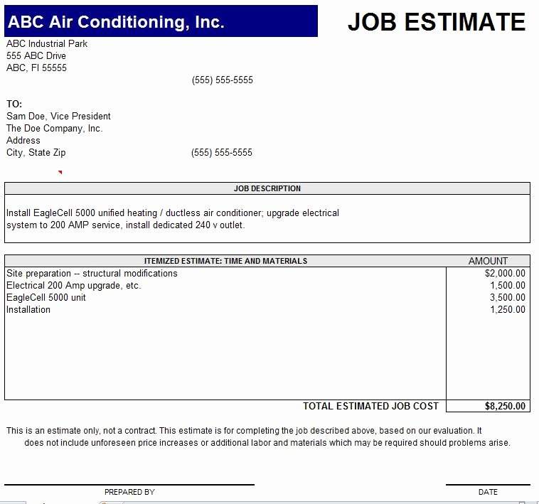 Job Estimate Template Excel Beautiful 10 Job Estimate Templates Excel Pdf formats