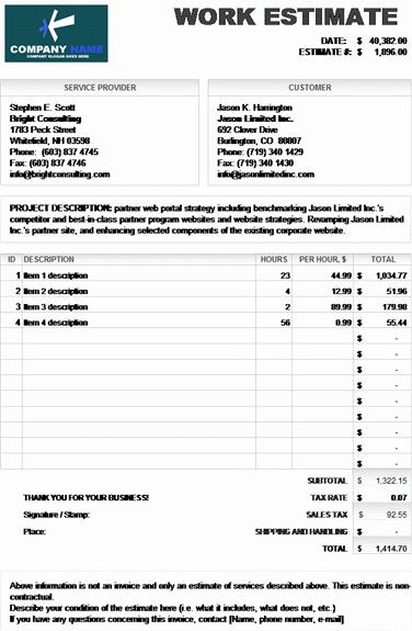 Job Estimate Template Excel Best Of Work Estimate Invoice Calculates total – Microsoft Excel