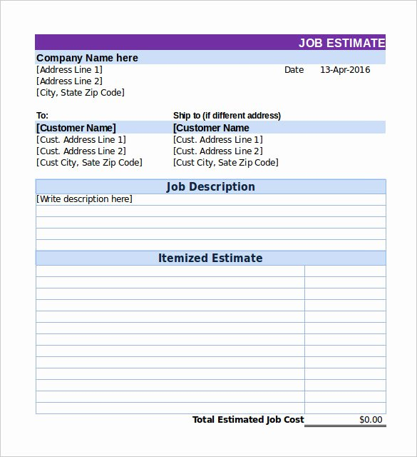 Job Estimate Template Excel Fresh 26 Blank Estimate Templates Pdf Doc Excel Odt