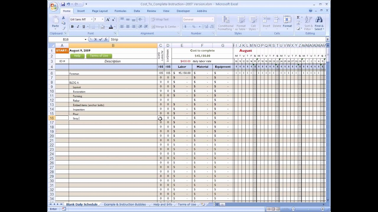 Job Estimate Template Excel Fresh Cost to Plete for Construction In Excel