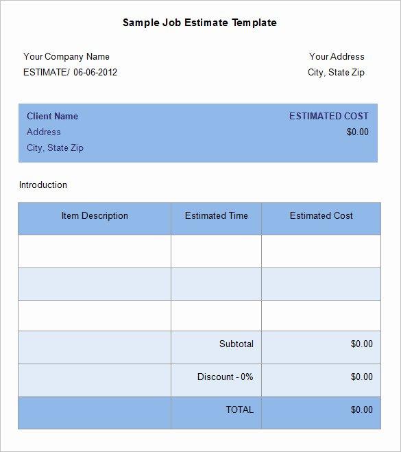 Job Estimate Template Excel Luxury 5 Job Estimate Templates – Free Word Excel & Pdf