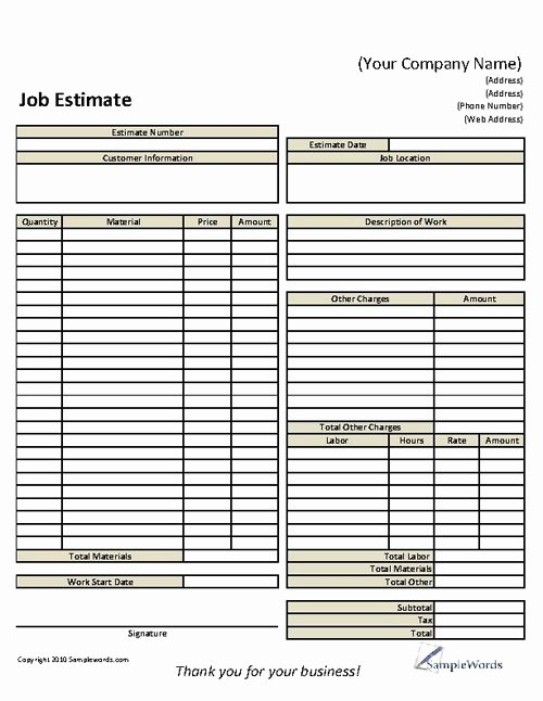 Job Estimate Template Excel New 9 Best Of Roofing Estimate Templates Printable