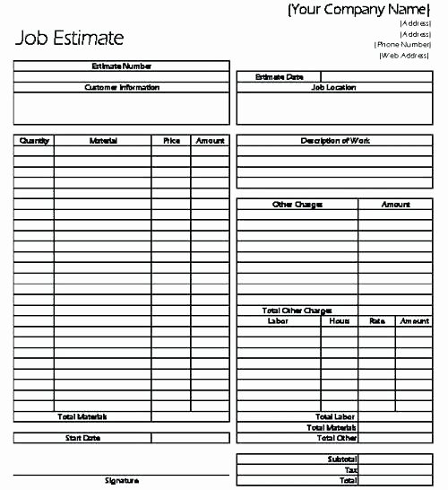 Job Estimate Template Excel New Template Free Contractor Bid Proposal Templates Fence