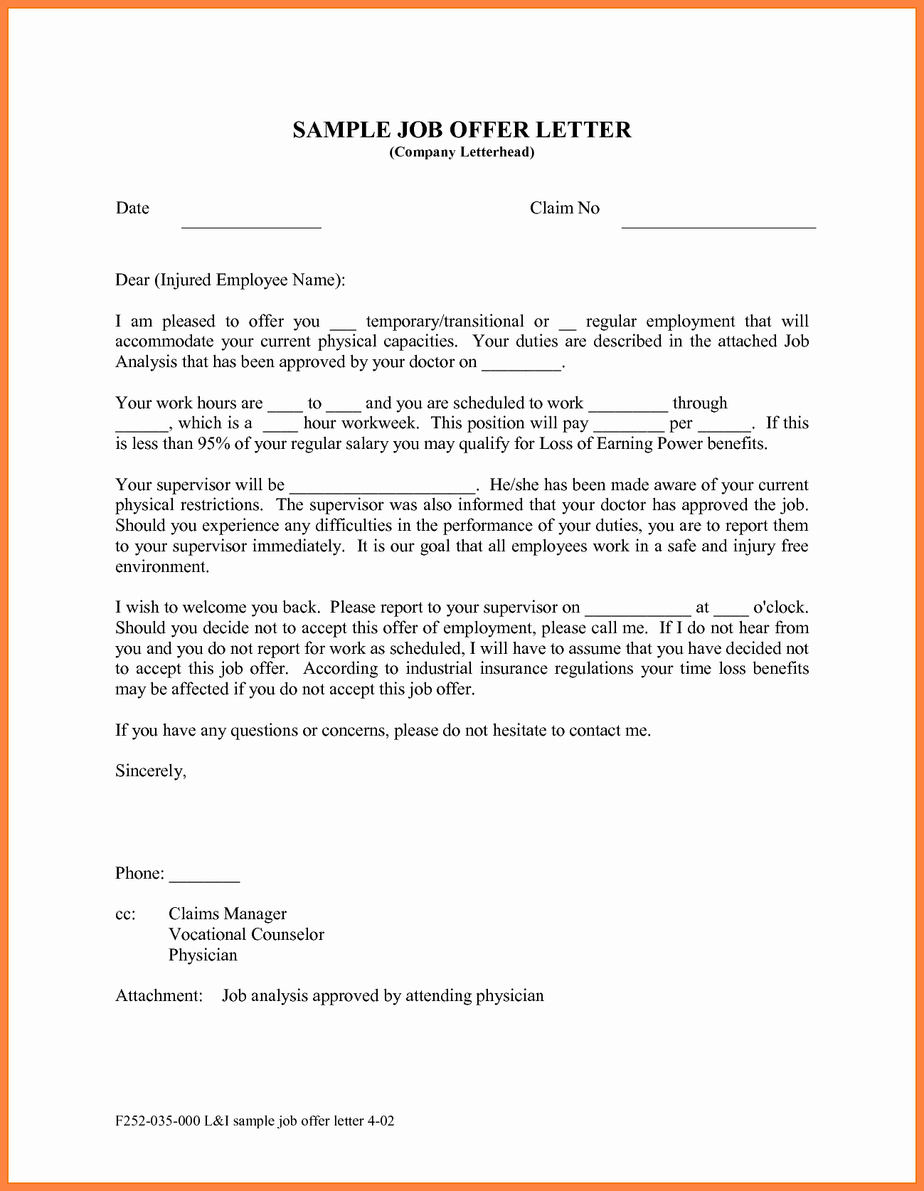 Job Offer Letter Template Doc Best Of 10 Offer Of Employment Letter