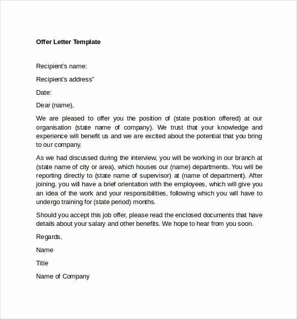 Job Offer Letter Template Doc Elegant 12 Sample Fer Letter Templates – Free Examples