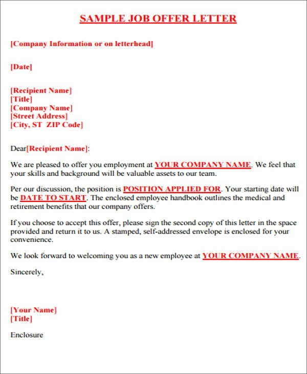 Job Offer Letter Template Doc Elegant 40 Fer Letter format Templates Pdf Doc
